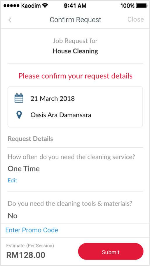 kaodim request summary