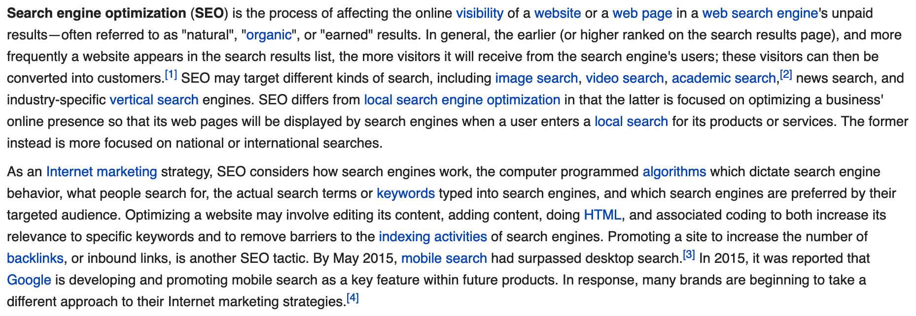 sample on-page seo wikipedia internal linking